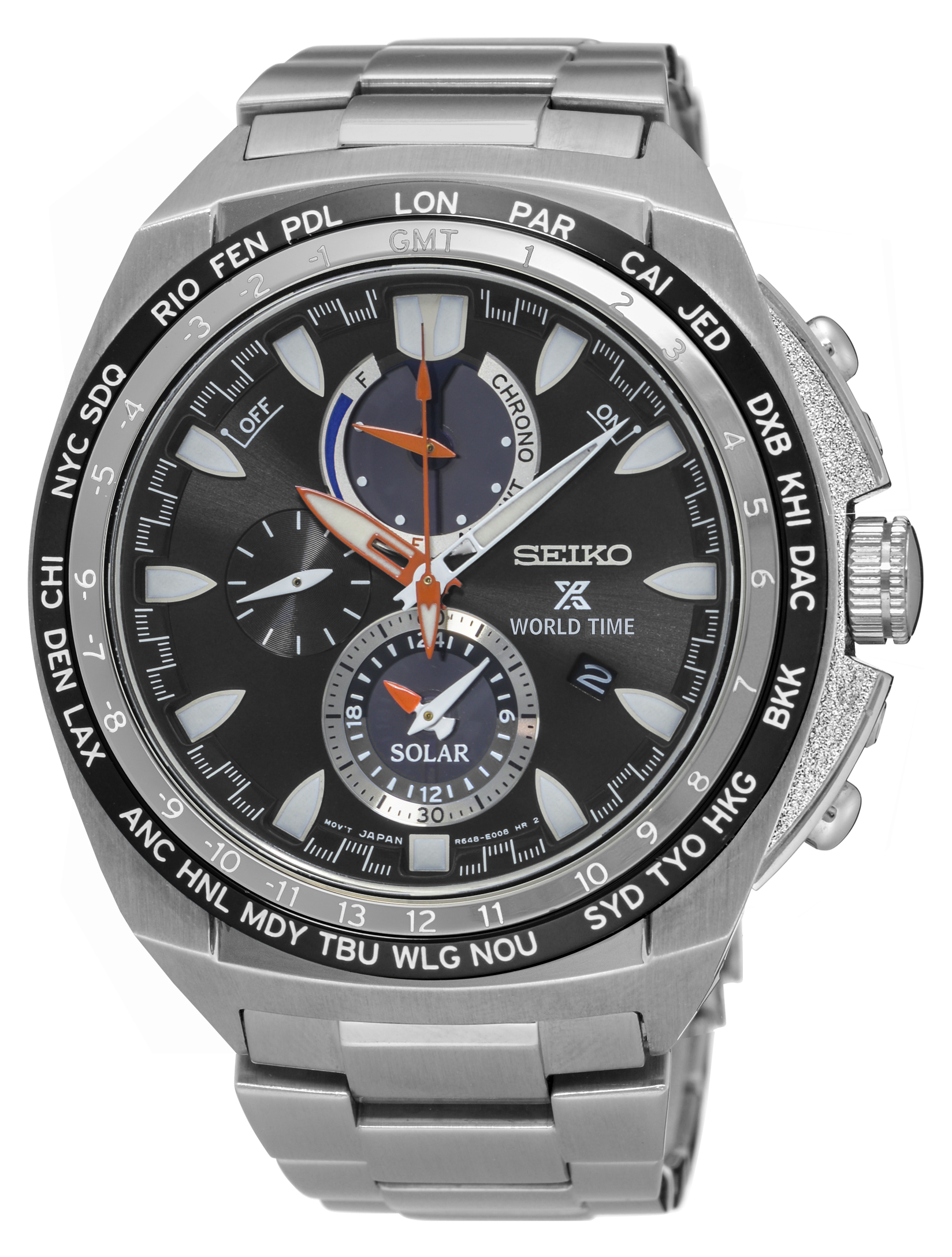 Seiko SSC487P Prospex World Time Chronograph Mens Watch