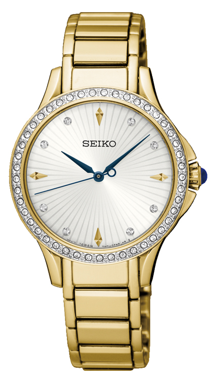 Seiko SRZ488P Swarovski Crystals Stainless Steel Gold Plated Womens Watch