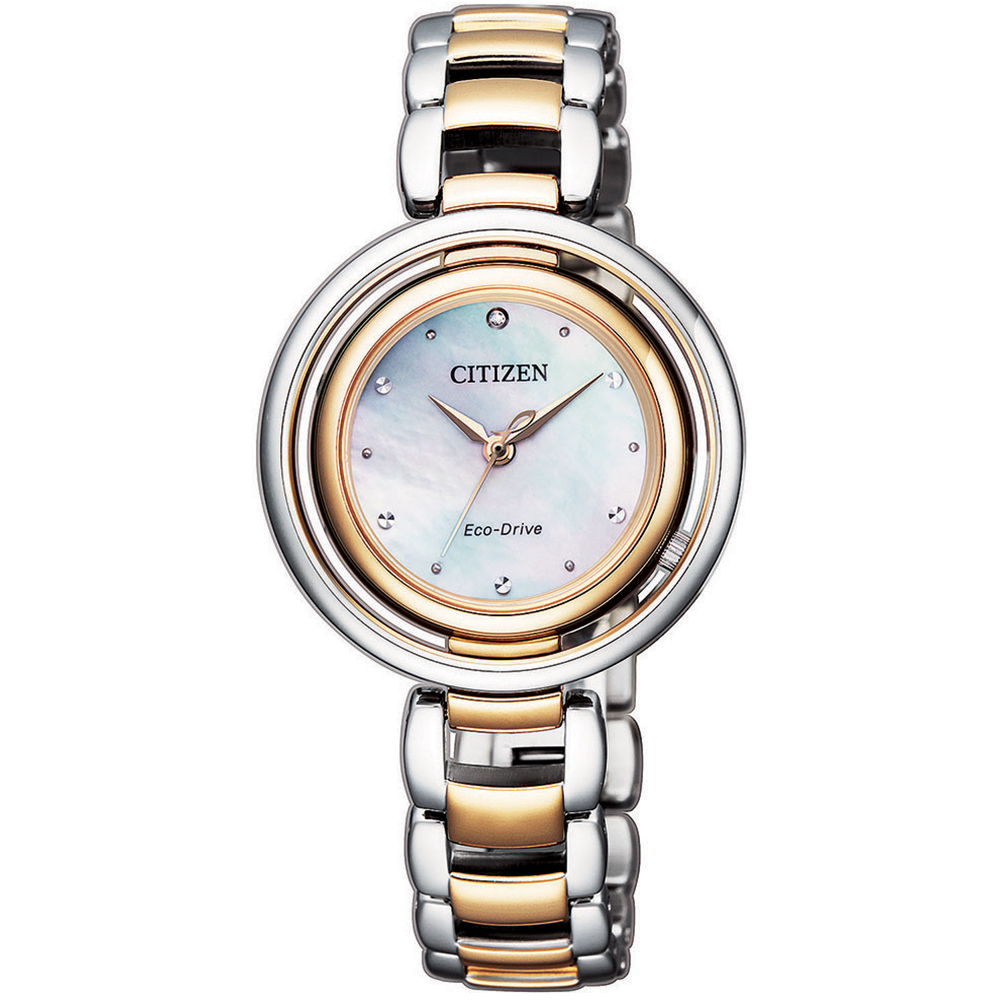 Citizen Eco-Drive Diamond Set EM0666-89D Two-Tone Stainless Steel Womens Watch