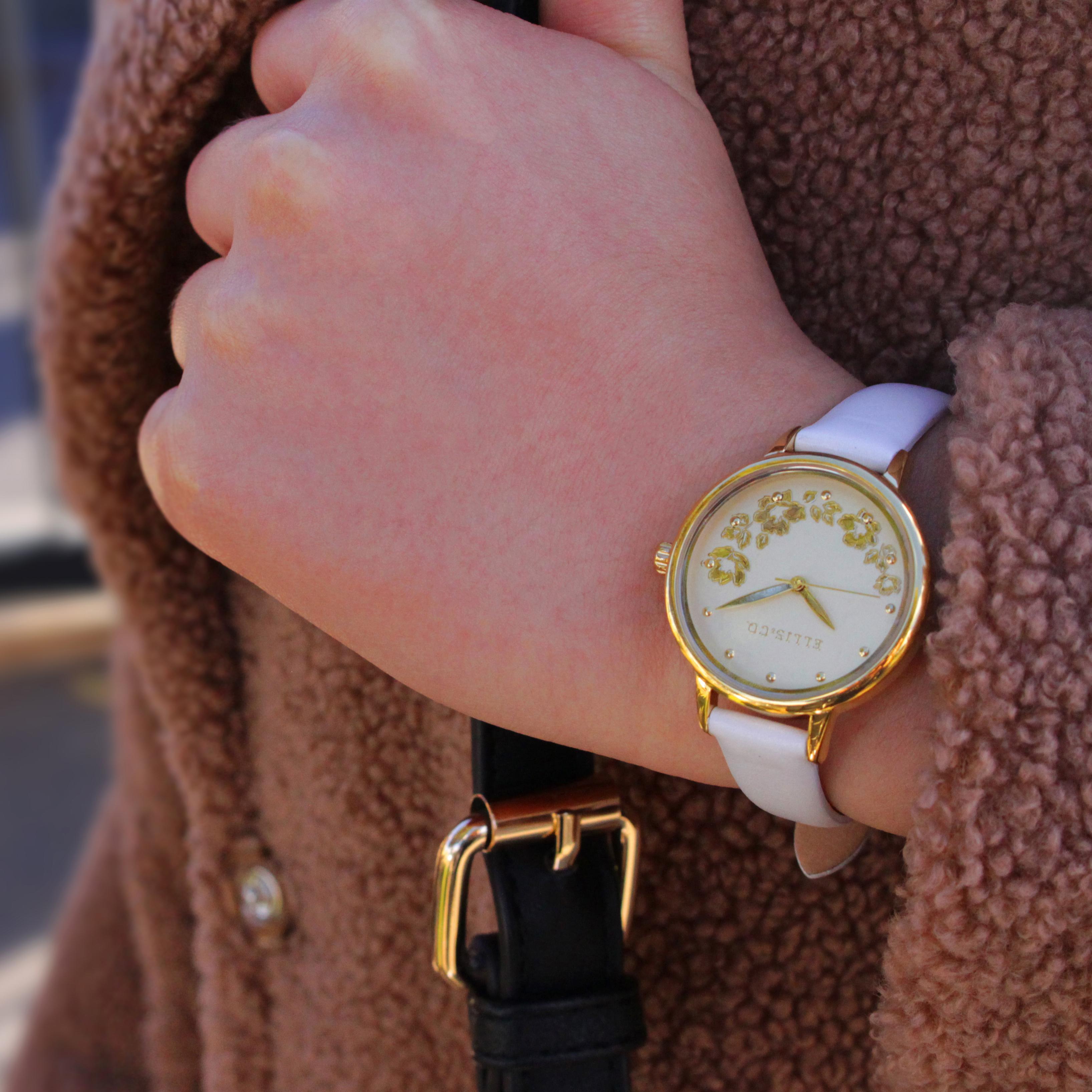Ellis & Co White Leather Womens Watch