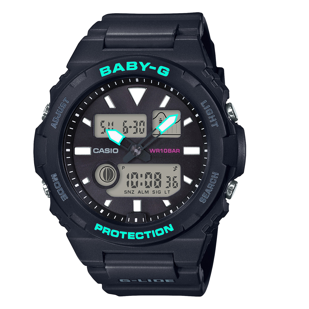 Baby-G G-Lide BAX-100-1ADR Black Resin Womens Watch