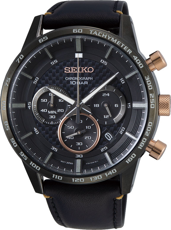 Seiko SSB361P Black Leather Mens Watch
