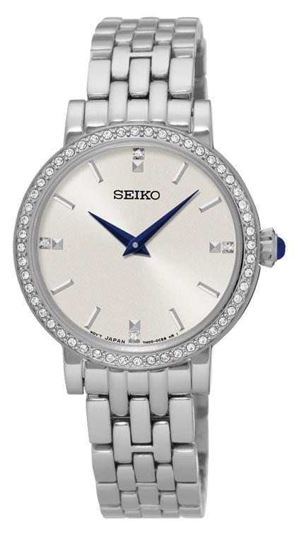 Seiko SFQ811P Swarovski Crystals Stainless Steel Womens Watch