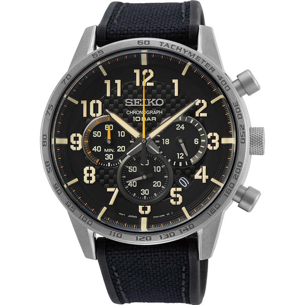 Seiko SSB367P Chronograph Stainless Steel Silicone & Leather Mens Watch