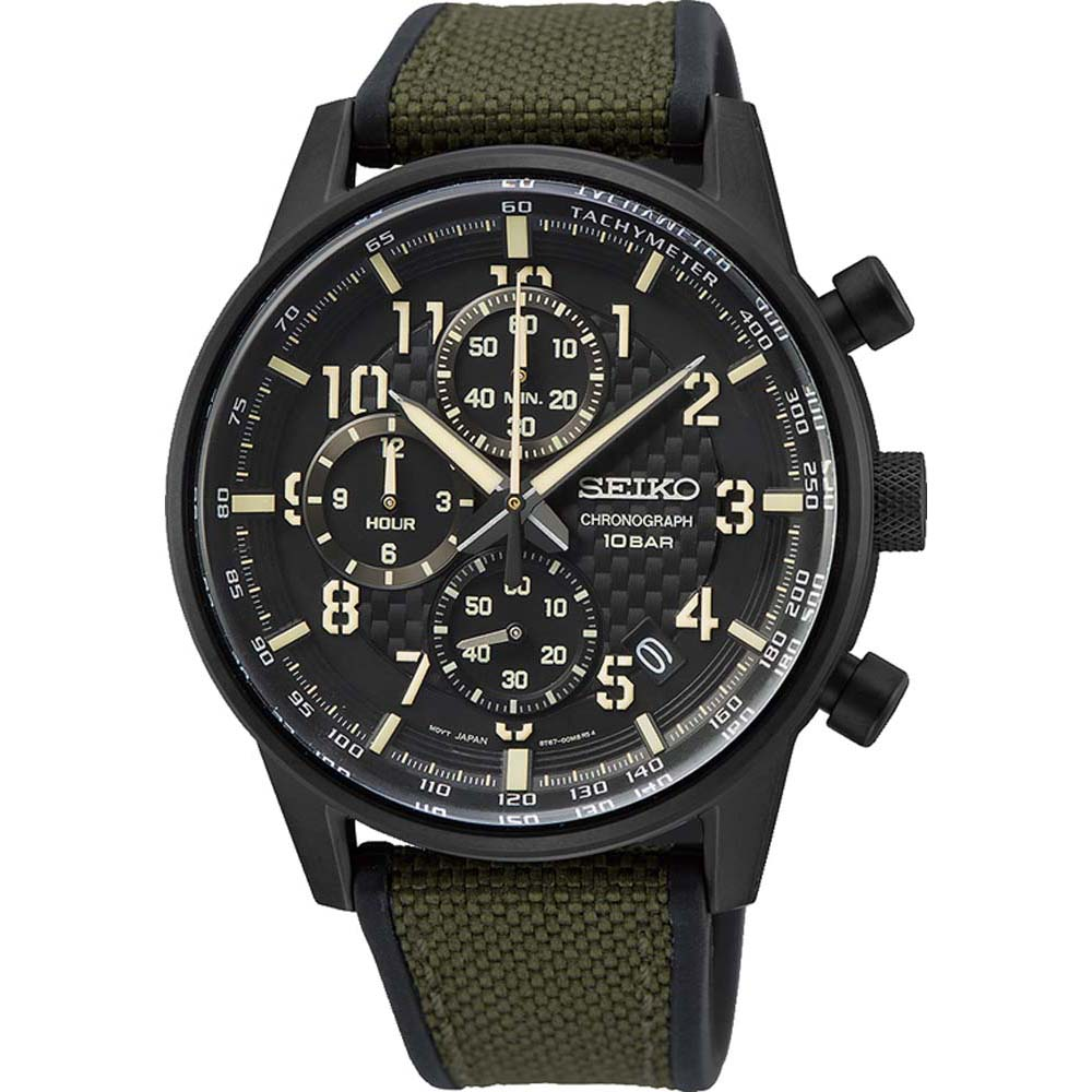 Seiko SSB373P Chronograph Silicone & Leather Mens Watch