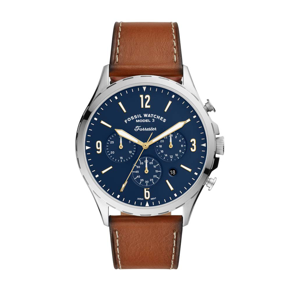 Fossil FS5607 Forrester Chronograph Brown Leather Mens Watch