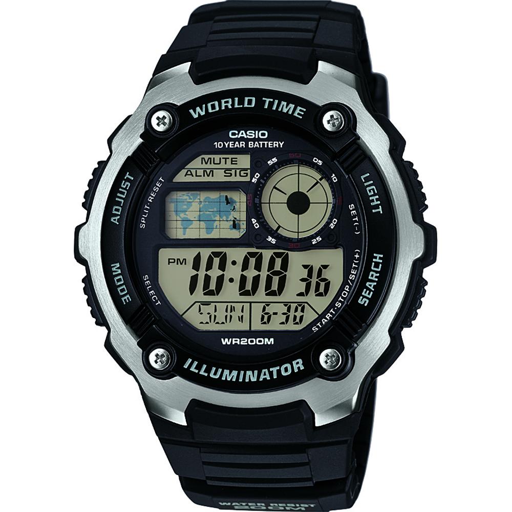 Casio AE2100W-1A Illuminator Black and Silver Mens Watch