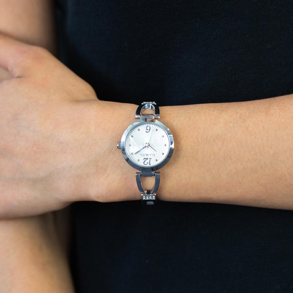 Ellis & Co 'Luna' Silver Tone Stone Set Womens Watch