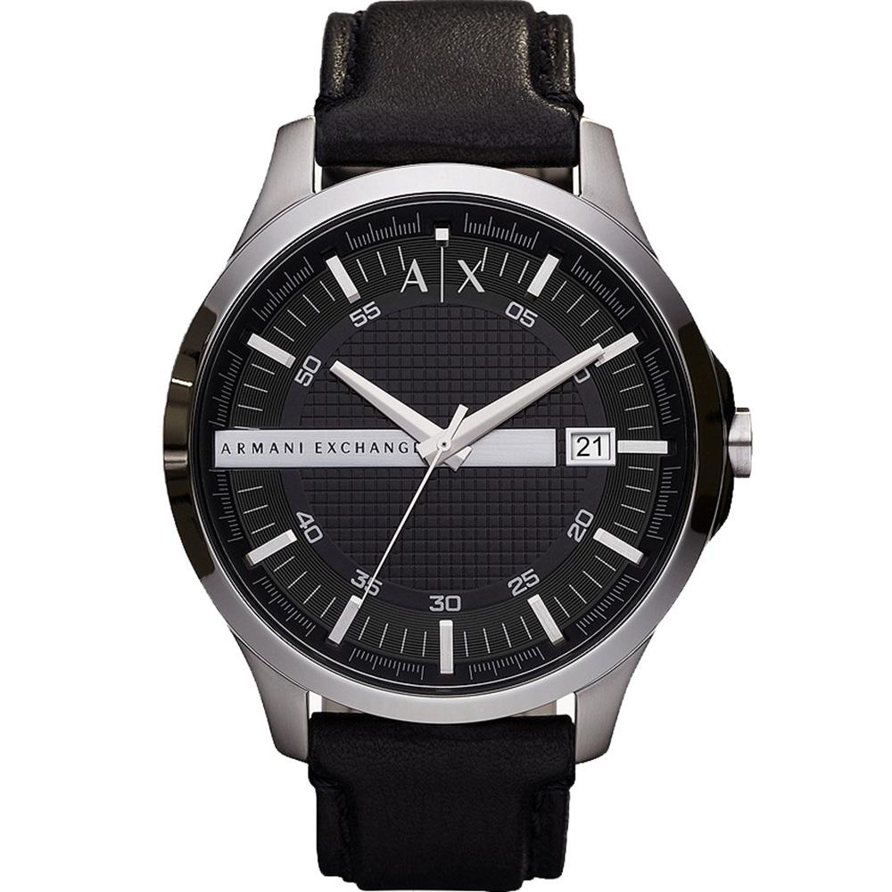 AX2101 Armani ExchangevǬ†Hampton Silver & Black Leather Dress Watch