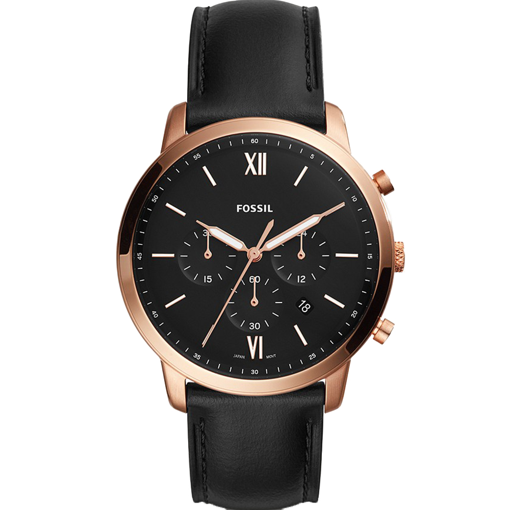 FS5381 Fossil Mens Neutra Chronograph Black Leather Watch