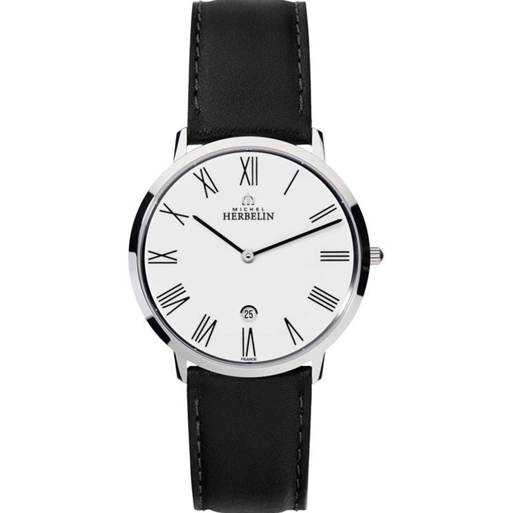 Michel Herbelin City 19515/01 Black Leather Mens Watch