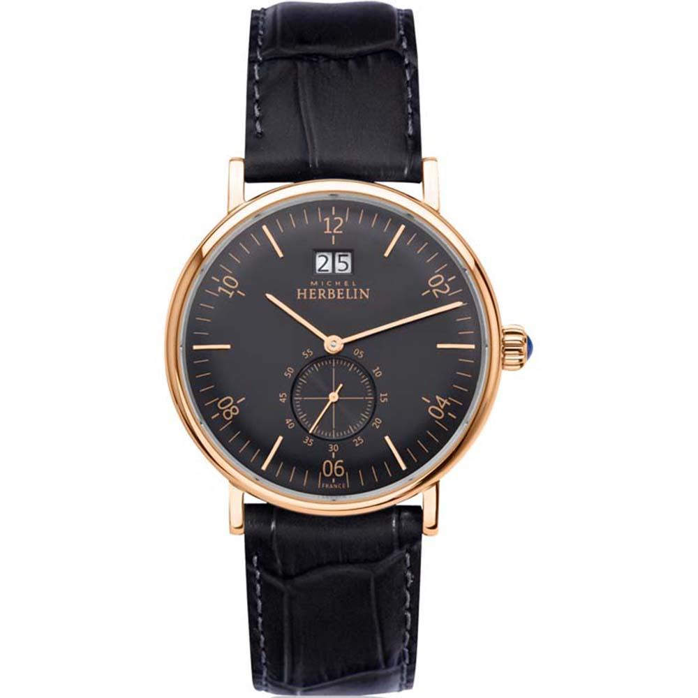 Michel Herbelin Inspiration 18247/PR14 Mens Black Leather Watch