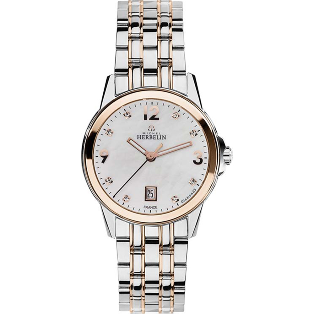 Michel Herbelin City 14250/BTR89 Womens Silver And Rose Gold Two Tone Watch