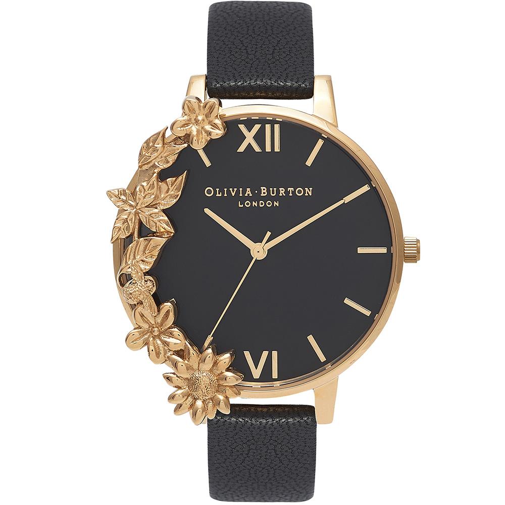 OB16CB07 Olivia Burton Womens Floral Black Leather Watch