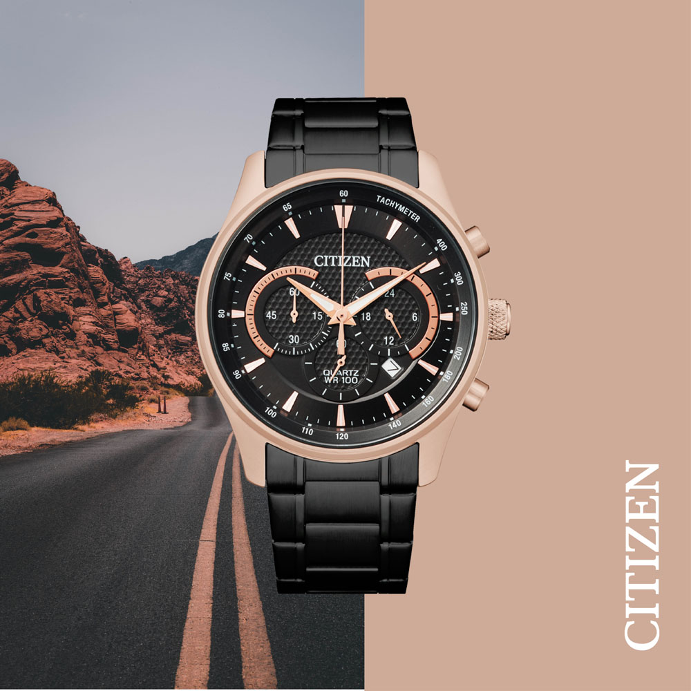 Citizen Quartz Chronograph Black and Rose AN8196-55E Mens Watch