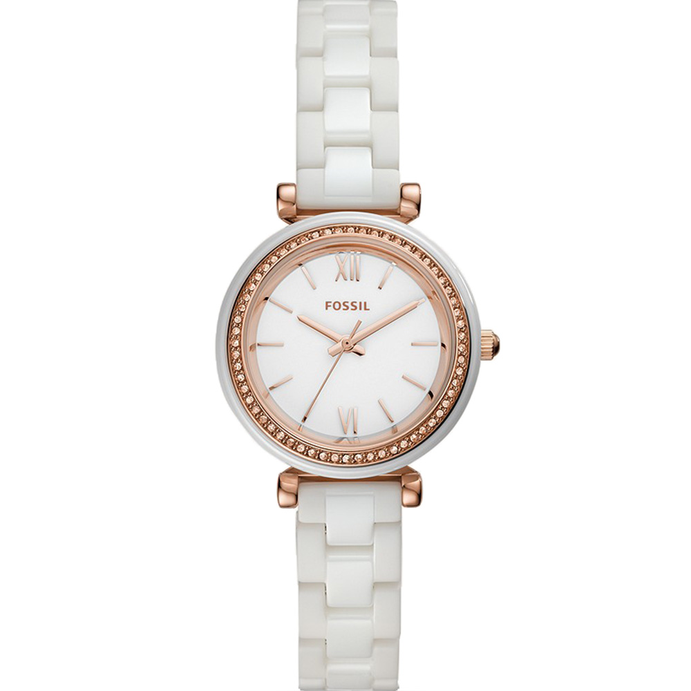 Mini Carlie CE1104 White and Rose Ceramic Womens Watch