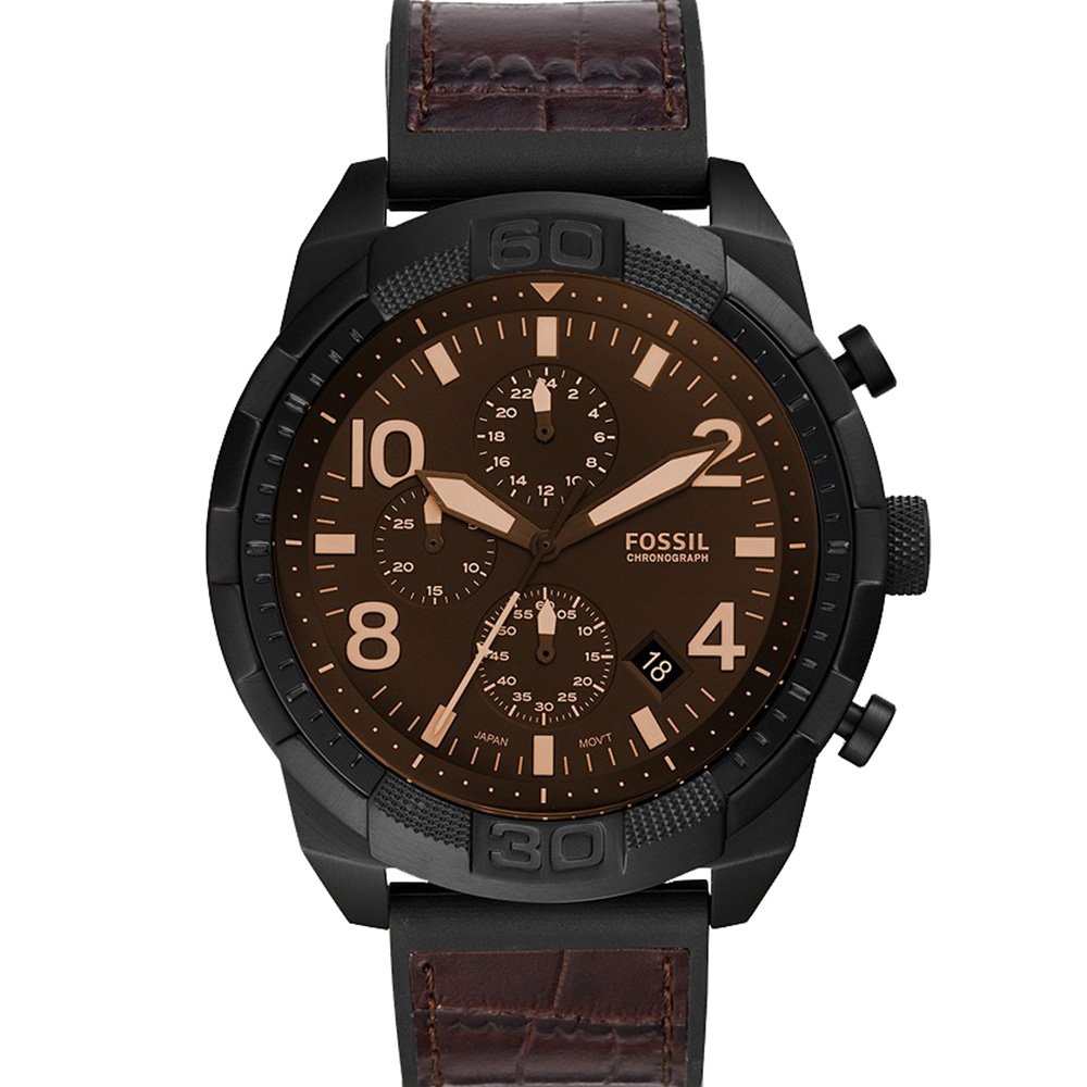 Fossil Bronson FS5713 Black Leather Band Mens Watch