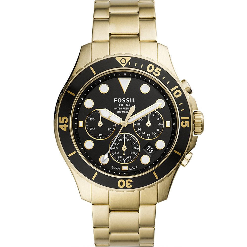 Fossil FB-03 FS5727 Gold Chronograph Mens Watch
