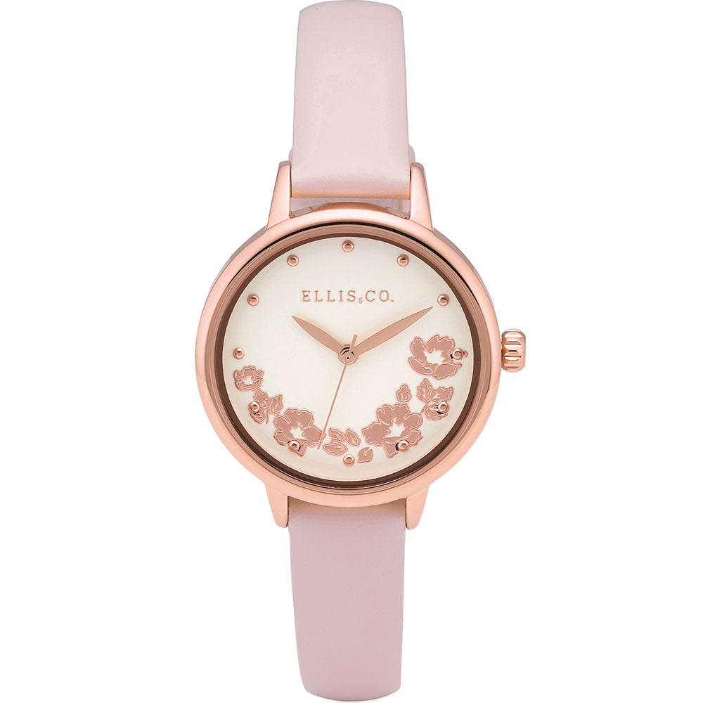 Ellis & Co 'Skylah' Floral Pink Leather Womens Watch
