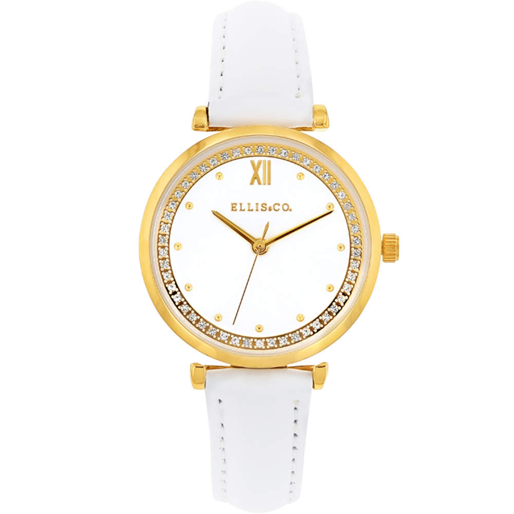 Ellis & Co 'Stella' White Leather Women's Watch