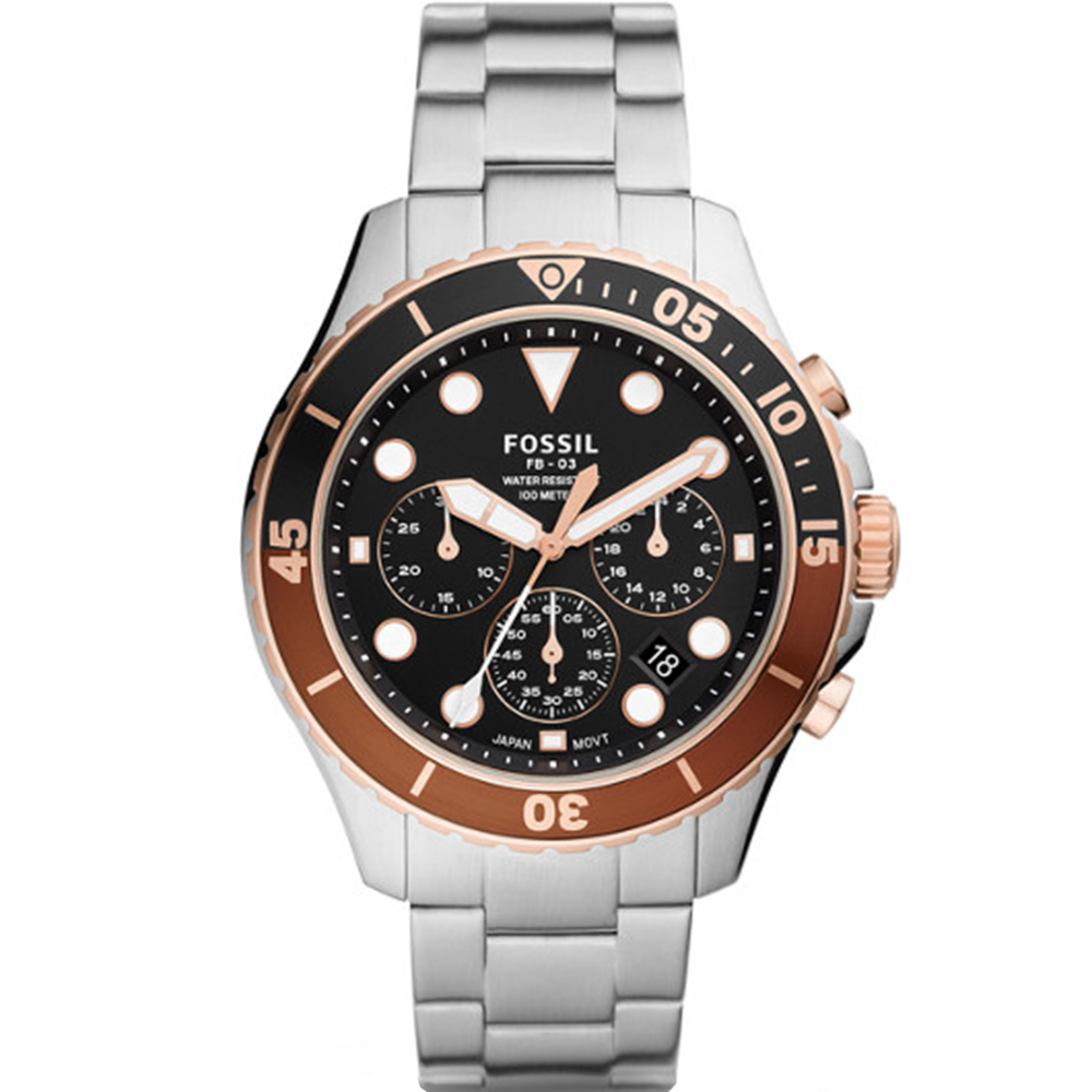 Fossil FB-03 Chronograph Rose and Stainless Steel Mens Watch