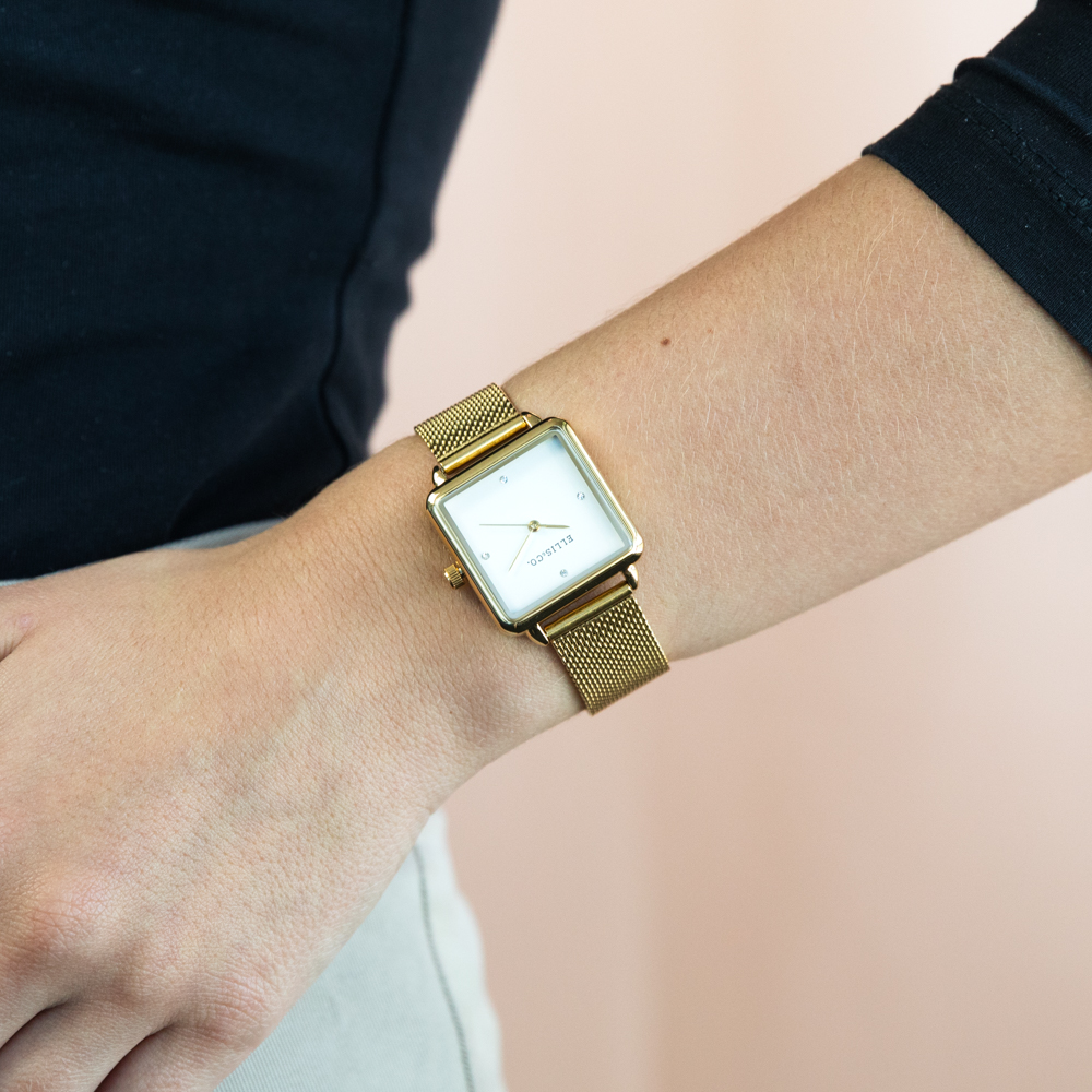 Ellis & Co 'Alyssa' Stainless Steel Mesh Bracelet Womens Watch