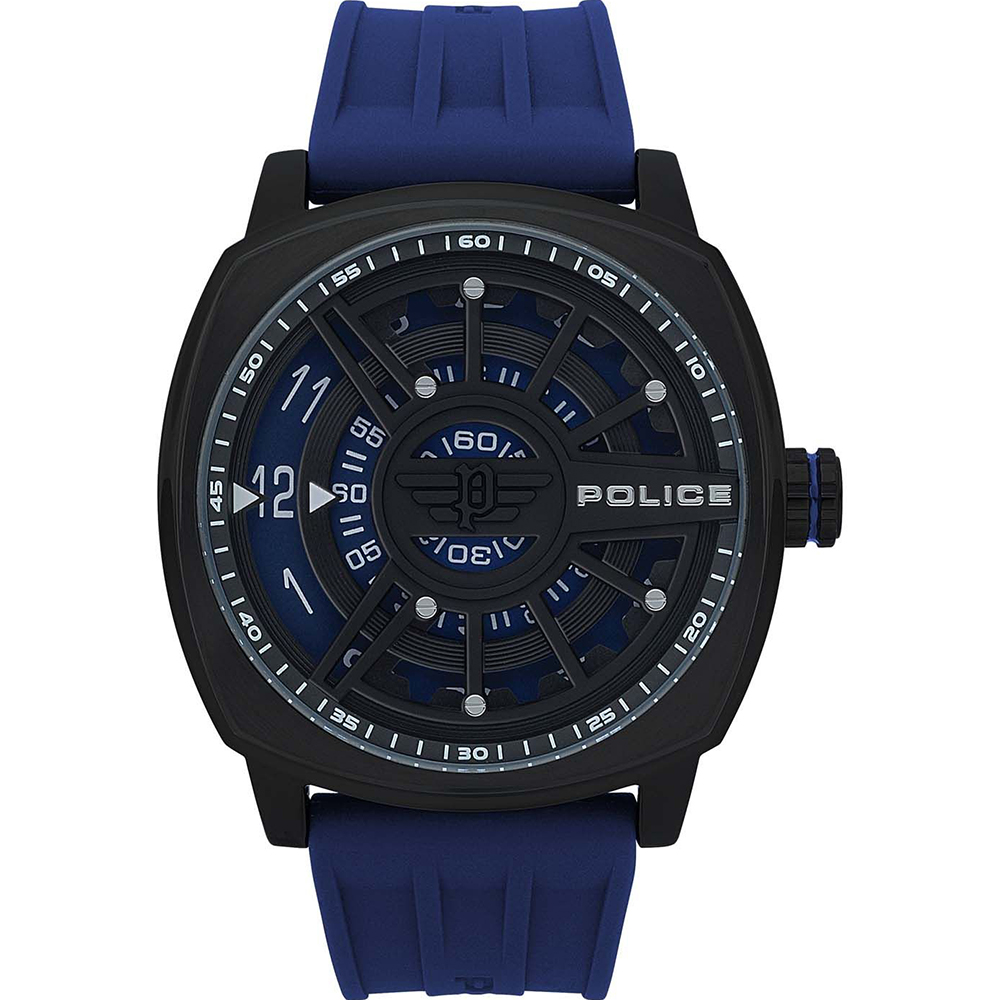 Police Speed Head Black Dial Blue Strap Mens Watch
