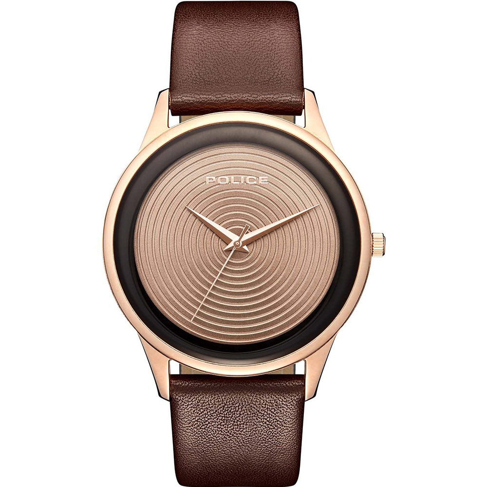Police Salerno Brown Leather Mens Watch