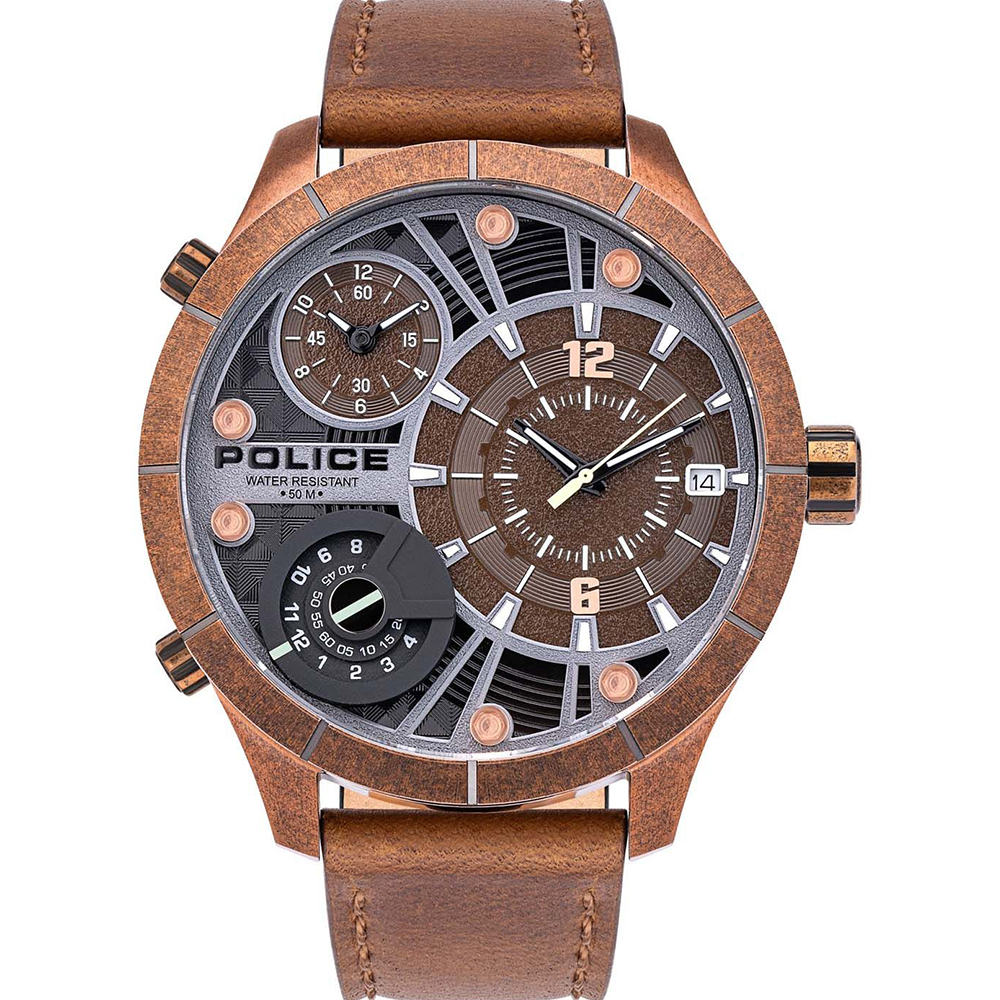 Police Bushmaster Brown Mens Watch