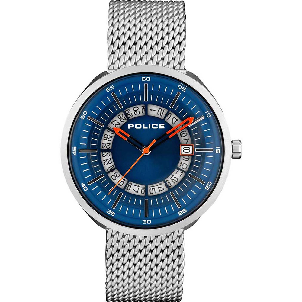 Police Dalian Blue Dial Silver Mens Watch