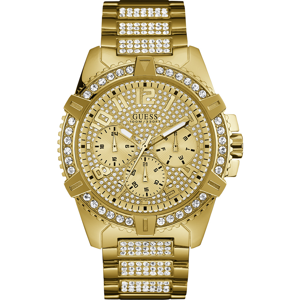 Guess Frontier W0799G2 Stone Set Gold Tone Mens Watch