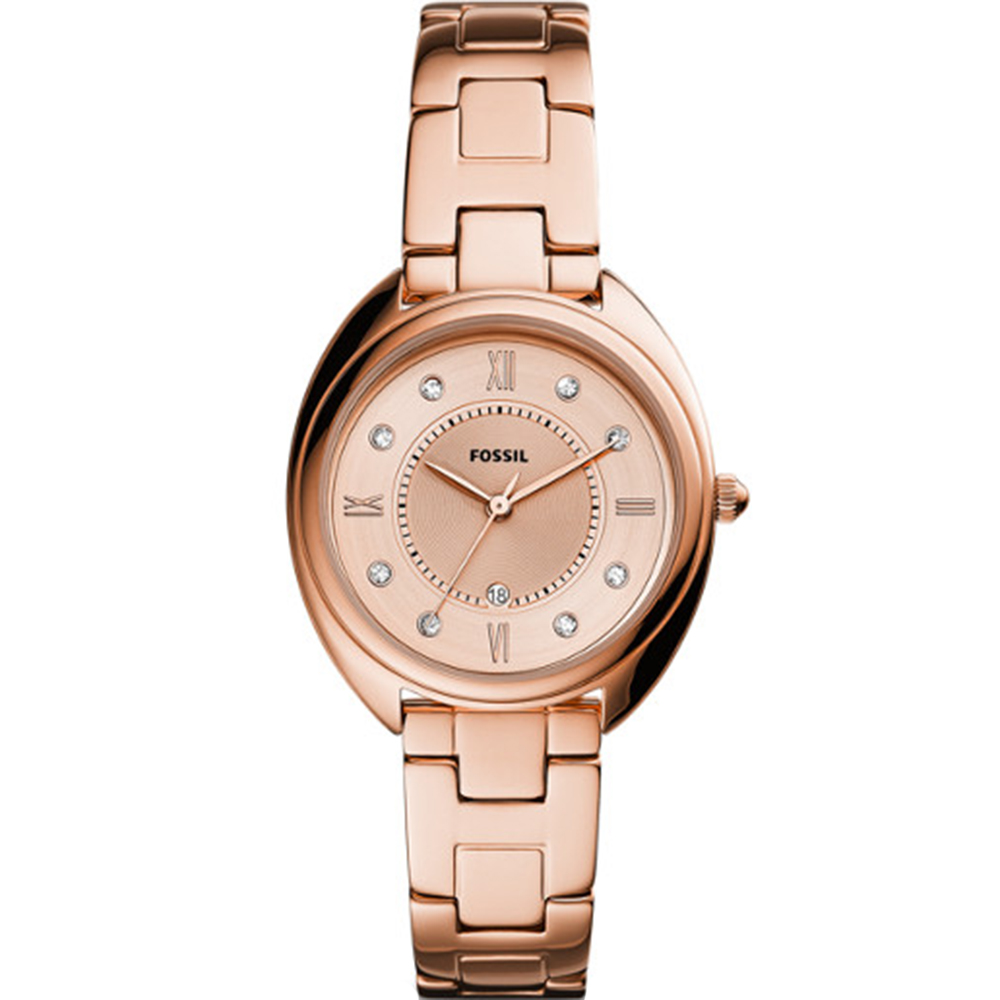 Fossil Gabby ES5070 Stone Set Dial Rose Tone Womens Watch