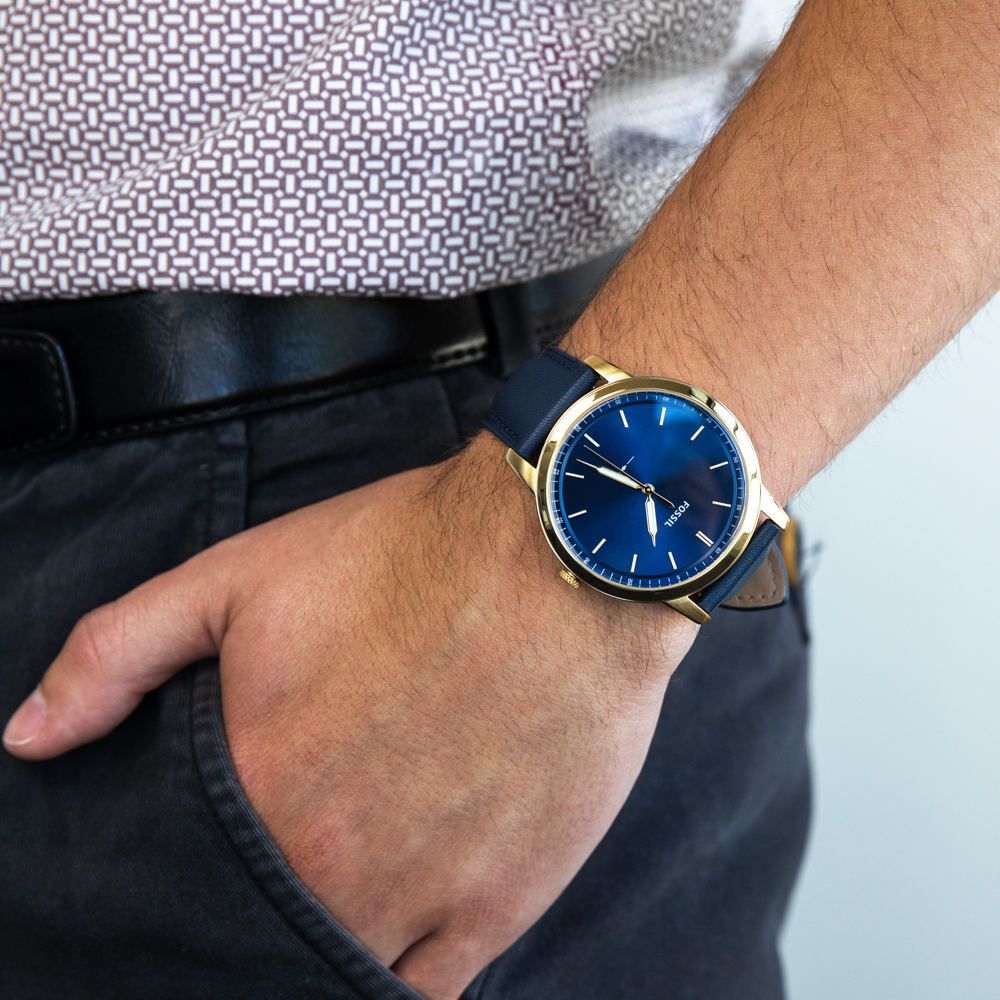 Fossil The Minimalist FS5789 Navy Blue Mens Watch