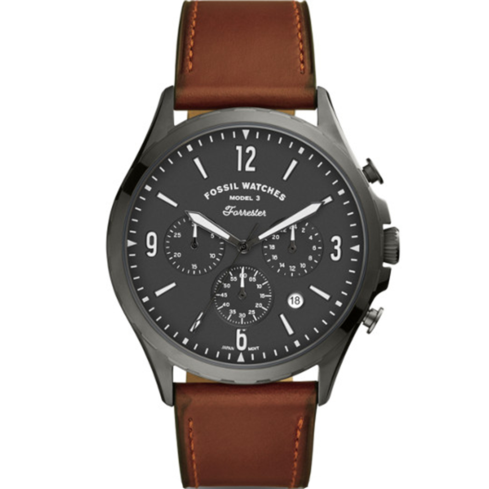 Fossil Forrester FS5815 Chronograph Brown Leather Mens Watch