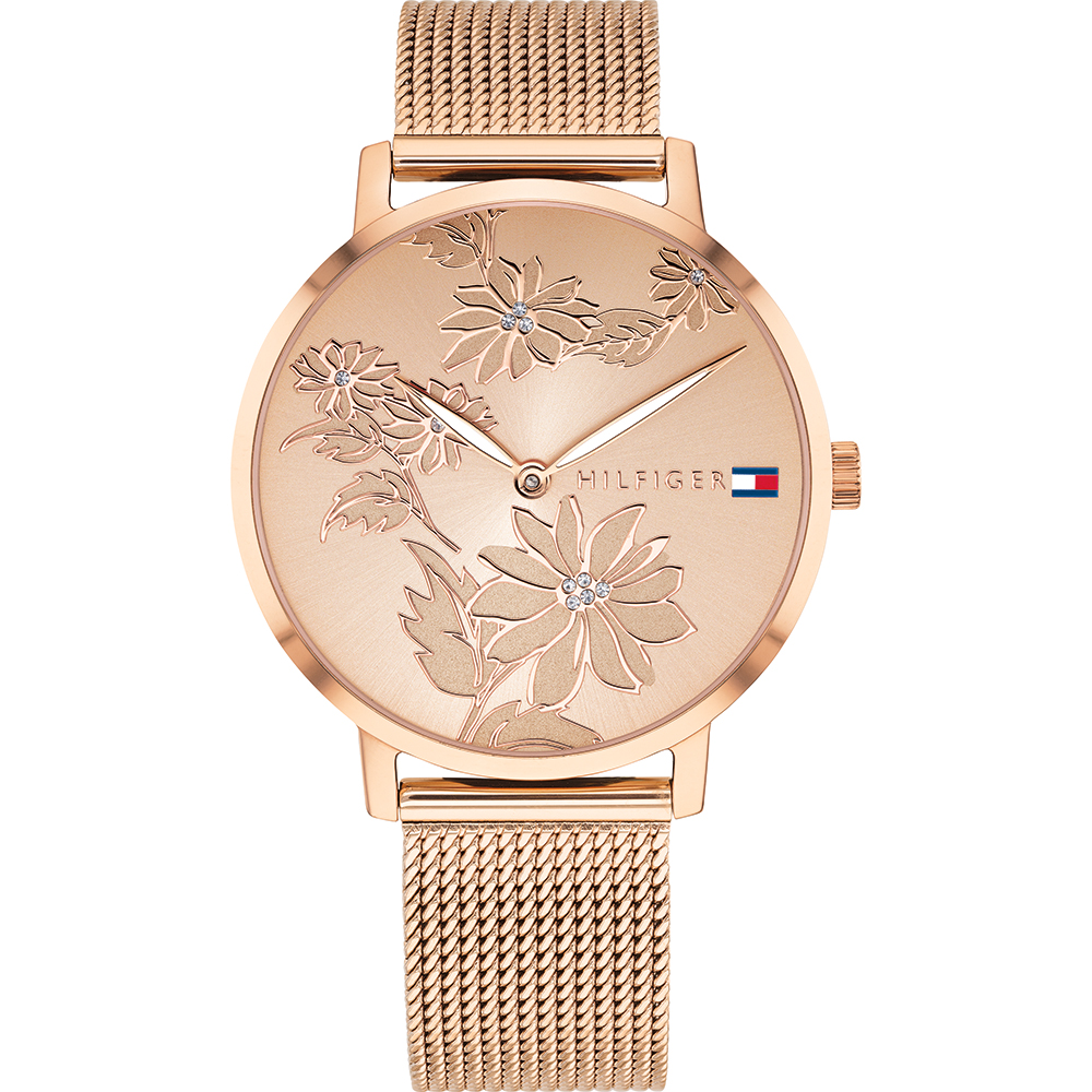 Tommy Hilfiger Pippa 1781922 Rose Tone Floral Mesh Womens Watch