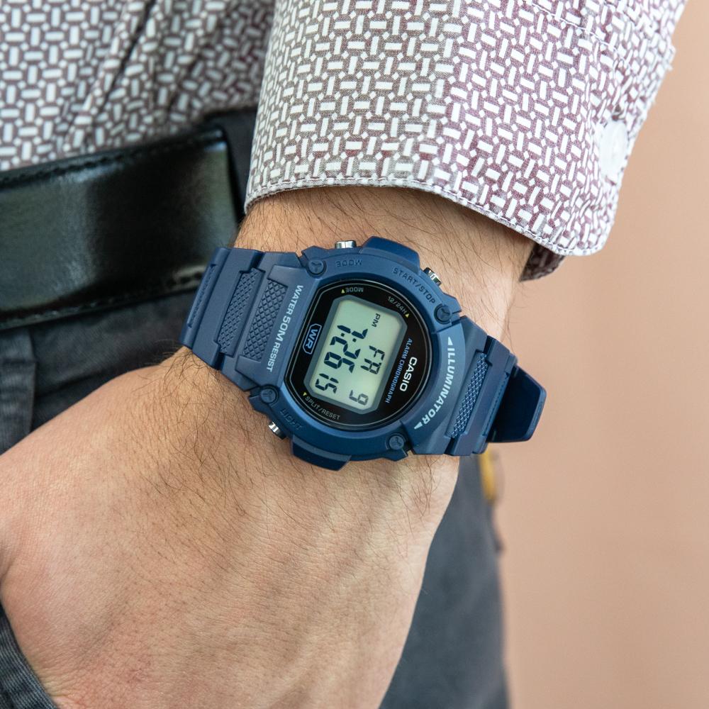 Casio W219H-2 Blue 50 Metres Water Resistant Digital Watch