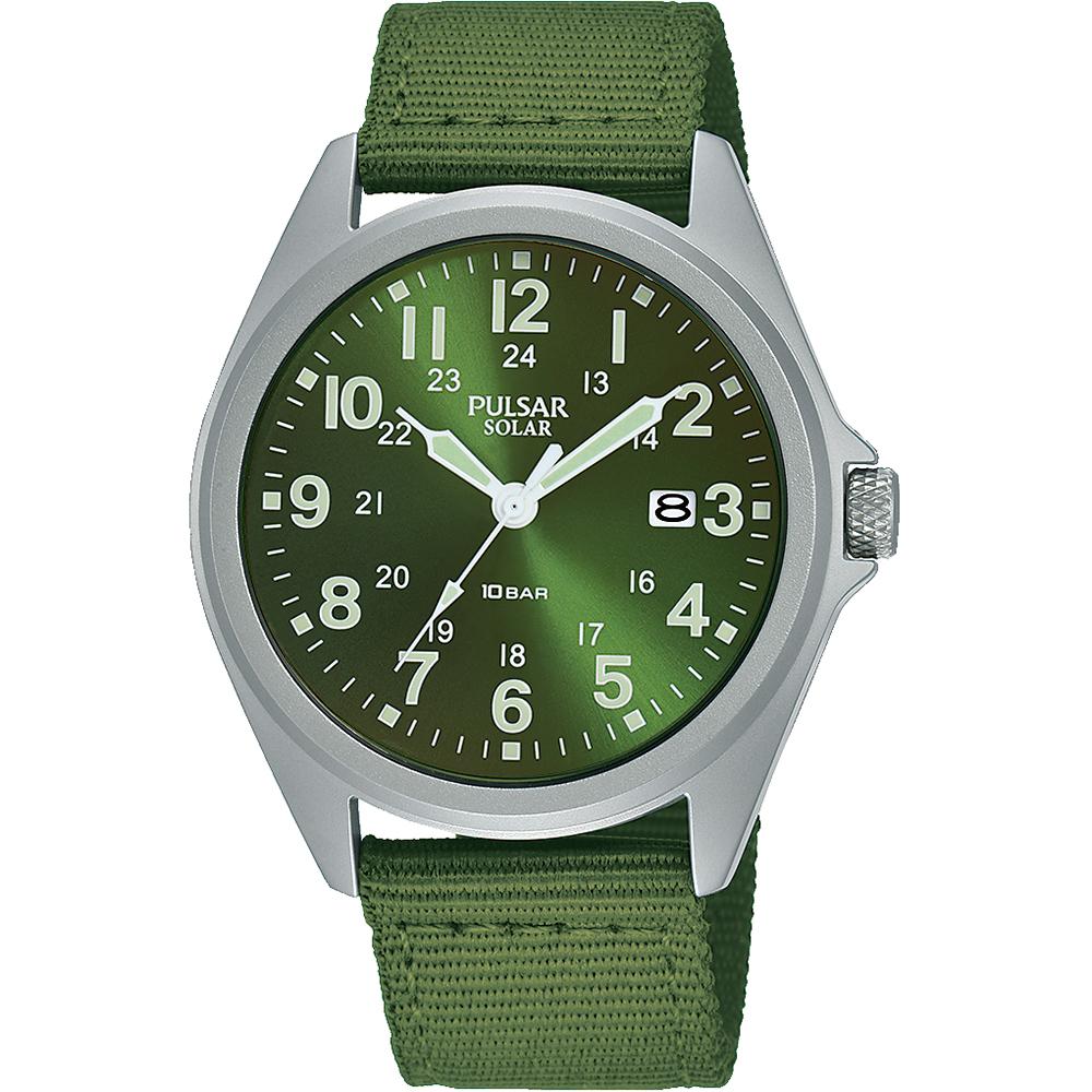 Pulsar Solar PX3227X Green Strap Mens Watch