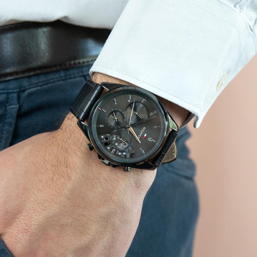 Tommy Hilfiger Baker 1710452 Multi Function Black Leather
