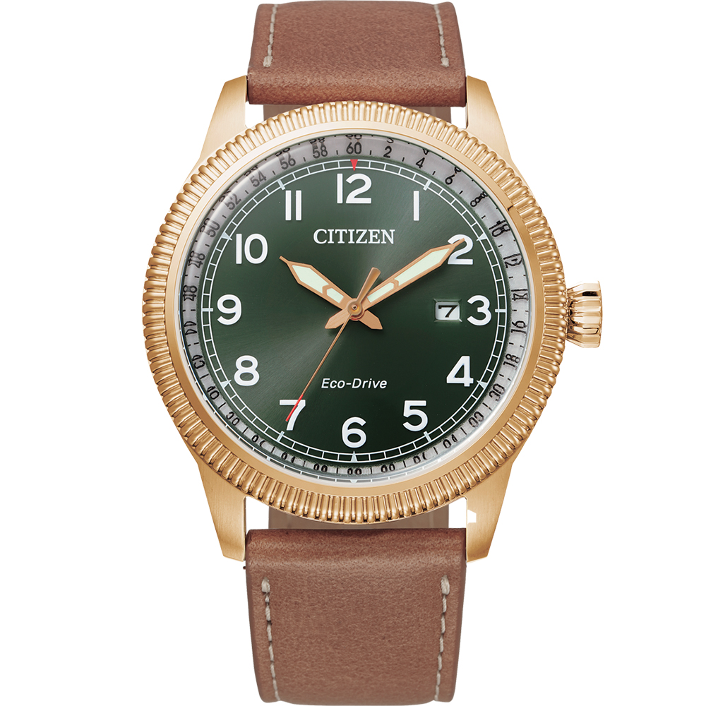 Citizen Eco Drive BM7483-15X Military Brown Leather Mens Watch