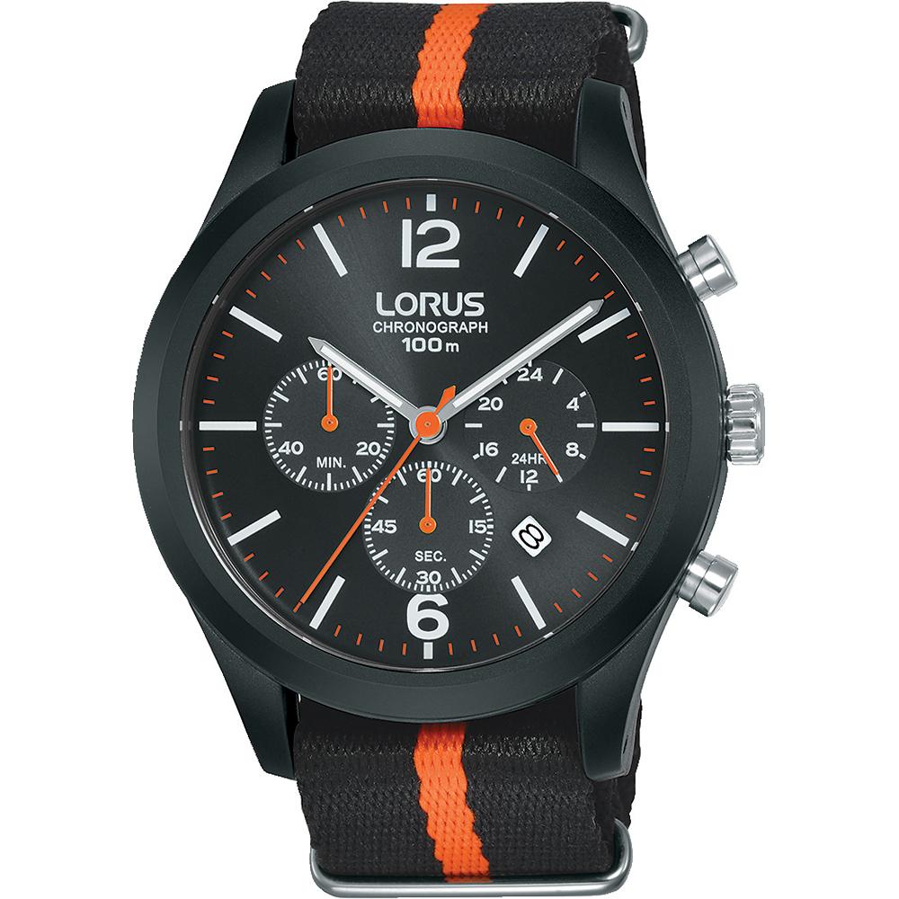 Lorus RT347HX-9 Chronograph Black and Orange Nylon Mens Watch