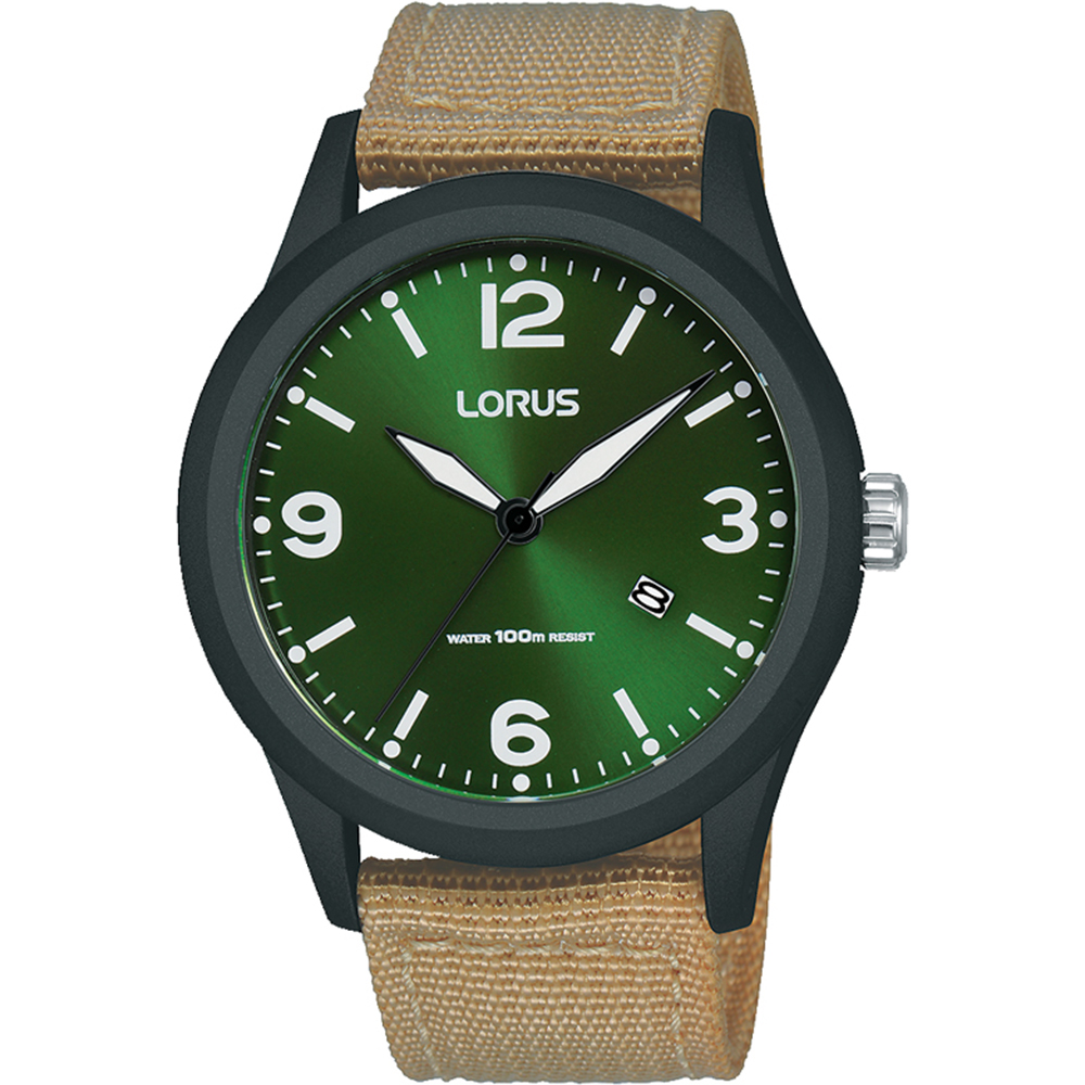 Lorus RH947LX-9 Green Dial and Beige Strap