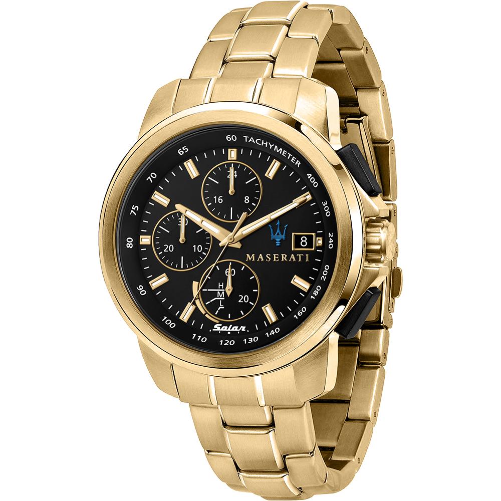 Maserati R8873645002 Successo Solar Gold Tone Mens Watch