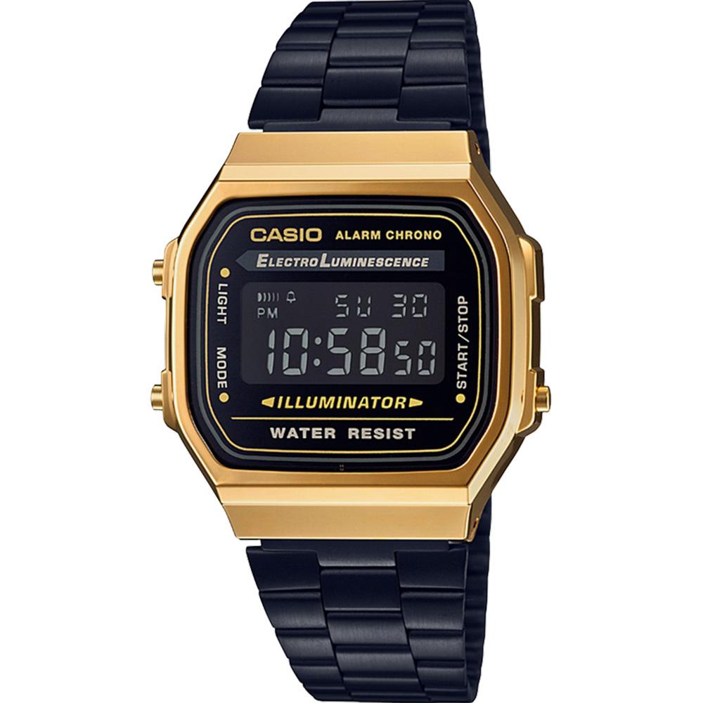 Casio Vinatge A168WEGB-1B Gold and Black Tone Digital Mens Watch