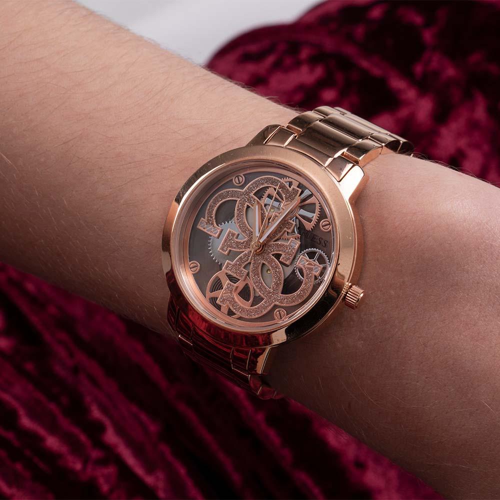 Guess GW0300L3 Quattro Clear Rose Tone Womens Watch